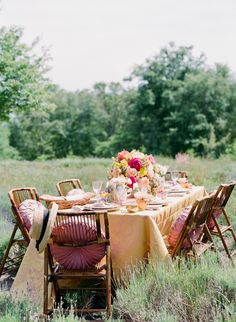 Vintage Tablescape in Field   photography by http://staceyhedman.com/