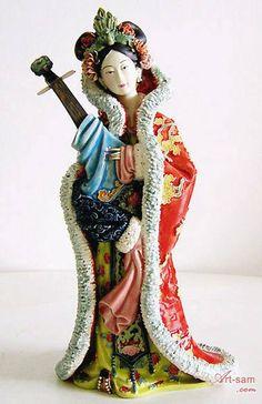 Song Dynasty Concubine - Shiwan Chinese Ceramic Lady Figurine : Art-sam.com