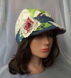 Ooak designer cadet cap sunhat summer hat ladies hat by Tatiana123
