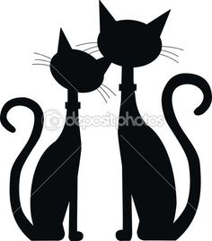 Silhouette of two black cats