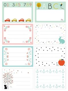 abc car and kid fun printable labels Printable Labels, Printable Paper, Free Printables, Notebook Labels, School Labels, Scrapbook, Free Prints, Journal Cards, Clipart