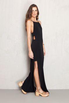 vestido longo aberturas laterais   Dress to
