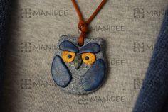Fimo , ciondolo a gufetto blu - Fimo, pendant owl