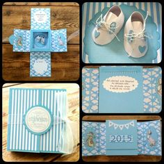 A welcome to the world box card to a newborn boy.  CS Reprint/Paper Accents vibrant blue, Bazzill white. DP Youdo happy clouds. Alphabet cuttlbebug Olivia embossed with clear powder Reprint. Circles & scallop circles and ovals dies Quickutz. Distressed with Tim Holtz tumbled glass. Rubber stamps Beatrix Potter crafters companion coloured with Promarkers. Text stamp from Inkido embossed with baby blue powder. Party Flag dies from Joy.  Baby shoes handmade & Text handwritten by me Kirsi…