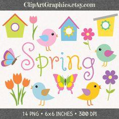Spring Clip Art Digital Bird Clipart