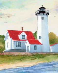 West Chop Lighthouse, Martha's Vineyard . original watercolor design reproduction. giclee print. coastal. nautical artwork