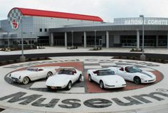 Motor'n News: Four Corvettes from each 500,000 production milestone sit out front of the National Corvette Museum