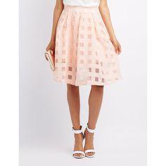 Charlotte Russe Windowpane Organza Midi Skirt ($27) ❤ liked on Polyvore featuring skirts, blush, skater skirt, sheer skirt, midi skirt, see-through skirts and zipper skirt