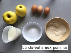 Recette - clafoutis aux pommes Serving Bowls, Tableware, Preschool, Bowls, Dinnerware, Serving Dishes, Dishes, Serveware