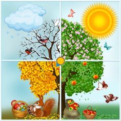 Make Four Season Trees Kindergarten Calendar, Kindergarten Activities, Activities For Kids, Maternelle Grande Section, Diy And Crafts, Crafts For Kids, Preschool Education, School Projects, Four Seasons