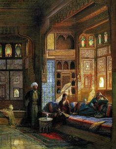 A room in the house of Shayk Sadat, Cairo. Qa'ah in the Harem of Sheykh Sadat, Cairo. Frank Dillon, British, Watercolor & body-color on paper stretched round panel. Empire Ottoman, Middle Eastern Art, Arabian Art, Old Egypt, Cairo Egypt, Islamic Paintings, Academic Art, Realistic Paintings, Islamic Architecture