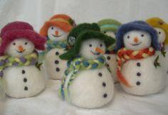 Needle Felted Snowman Christmas Ornament
