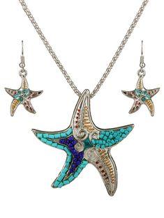 2017 new Marine animal jewelry sets Color beads starfish pendant necklace set women Vintage jewelry parure bijoux femme Beaded Starfish, Starfish Necklace, Cute Necklace, Necklace Types, Women's Jewelry Sets, Women Jewelry, Fashion Jewelry, Jewelry Ideas, Jewelry Crafts