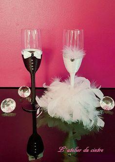 Ensemble flûtes à champagne personnalisées pour les mariés...cadeau mariés fait main