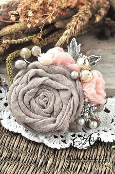 """Купить Брошь """"Рассветная дымка"""" - бледно-розовый, ткань, брошь, роза, брошь-цветок"""