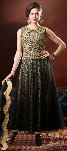 b0dd40575dab03 415225 Black and Grey color family Anarkali Suits in Net fabric with  Sequence