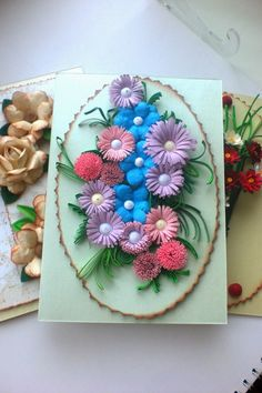 : A lot of different cards 3d Paper Flowers, Quilling Cards, Patterns, Blog, Block Prints, Blogging, Pattern, Models, Templates