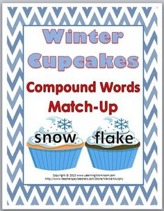 Winter Cupcakes Compound Words Match-Up