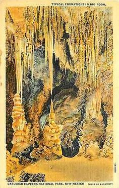 Carlsbad Caverns National Park New Mexico NM 1934 Big Room Formations Postcard
