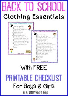 Back To School Clothing Essentials with Free Printable Checklist for Boys & Girls | OurFamilyWorld.com