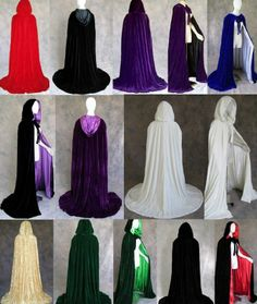 New Velvet Christmas Black Hooded Cloaks Cape Halloween Robe Wedding Pagan Witch
