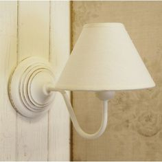 French shabby chic white vintage style wooden wall light with cotton coolie lampshade. Cottage Lighting, Dining Lighting, Wall Lighting, Bedroom Lighting, Lighting Ideas, Wooden Wall Lights, Wooden Walls, Bedroom Light Shades, Wall Light Fittings