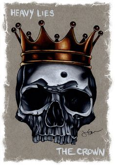 Heavy Lies The Crown by Jeff Saunders Skull Tattoo Canvas Art Print