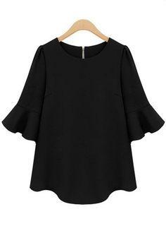 Black Plain Falbala Half Sleeve Chiffon Blouse