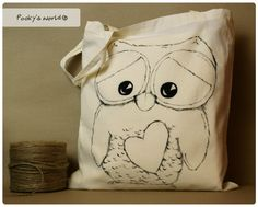 Cotton hand painted bag with owl  long handle by Pookysworld, $12.00