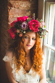WILD LUPIN - Close up. Dress: Kate Beaumont, Image: S6 Photography, Hair & Make-up: Jenn Edwards, Flowers: Swallows and Damsons