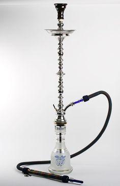 KM Khalil Mamoon Blue Lebanese Shisha Pipe Hookah 95cm with KM Pro Hose