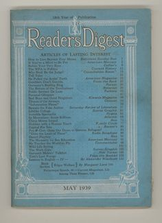 Readers Digest 1939 May Issue. How this journal has changed! For sale  by ProfessorBooknoodle, $10.00