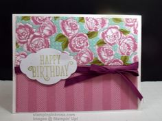 Stampin' Up! CAS Any Occasion card made with Happy Birthday Gorgeous stamp set and designed by Demo Pamela Sadler. Use this set for any occasion you need just change your greeting. This is a great template for other greeting cards. See more cards at stampinkrose.com #stampinkpinkrose #etsycardstrulyheart