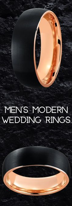 Men's modern rose gold wedding band. This mens ring is crafted out of tungsten carbide giving it great strength. The top of this ring features a brushed textured finish. So many more mens rose gold wedding rings to pick from!