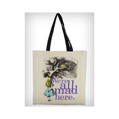 Alice in Wonderland Tote Bag ($16) found on Polyvore