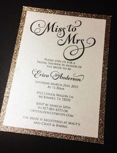 Bridal Shower Invitation - Glitter Bridal Shower Invitations #BridalShowerFavors