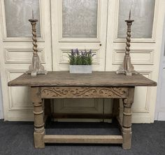 French Bleached Oak Hall Table - Antiques Atlas