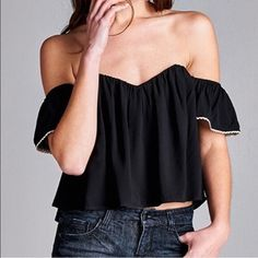 """Off the shoulders boho black top NWT MEASUREMENTS: -Length: 11.75"""" (from chest) -Bust: 32"""" Approx. -Sleeve length: 4.5"""" Urban Outfitters Tops"""