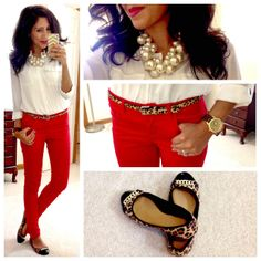 Red skinnies, white blouse, pearls, leopard print