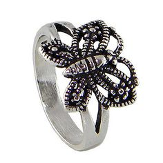 Butterfly Sterling Silver Ring and Black oxidized by jewelkingthai, $12.00