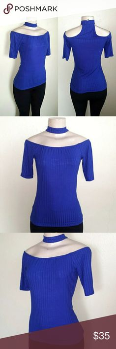 Off Shoulder Choker Top M NEW Never worn Stretch Ribbed Medium Tops Blouses