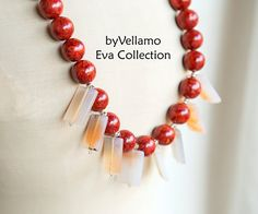 Summer colors cherry red unusual chunky statement by byVellamo