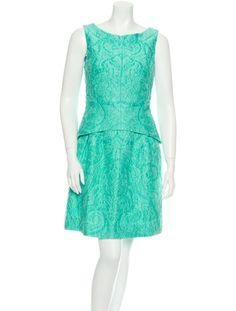 Oscar de la Renta Seafoam brocade sleeveless dress