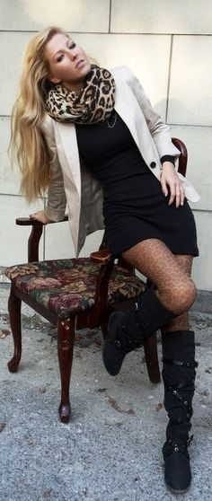 Leopard tights and scarf, with a little black dress, boots, and a beige boyfriend blazer.