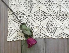 Vintage / Home Decor / hand crocheted table runner / cotton / Scandinavian / farmhouse cottage chic / creamy white / Mother's Day gift idea. $70.00, via Etsy.