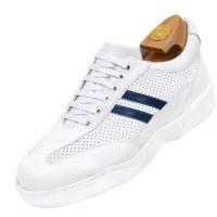 Zapatos con alzas HiPlus 7032 A en piel boxcalf blanco y azul, forro textil, suela de goma. Sube 6-7 cm +.