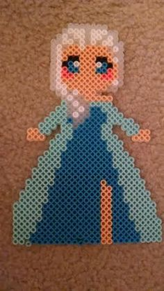 Queen Elsa of Arendelle from the lovable Disney movie Frozen. Made using perler/ fuse beads. Its the perfect additon to any Frozen addicts