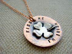 Kiss Me I'm Irish Copper and Sterling Silver Necklace St. Patty's Day. $35.00, via Etsy.