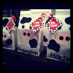 Cow party treat bags
