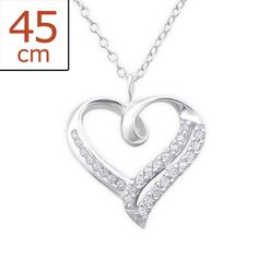 Heart Crystal Real Sterling Silver Necklace